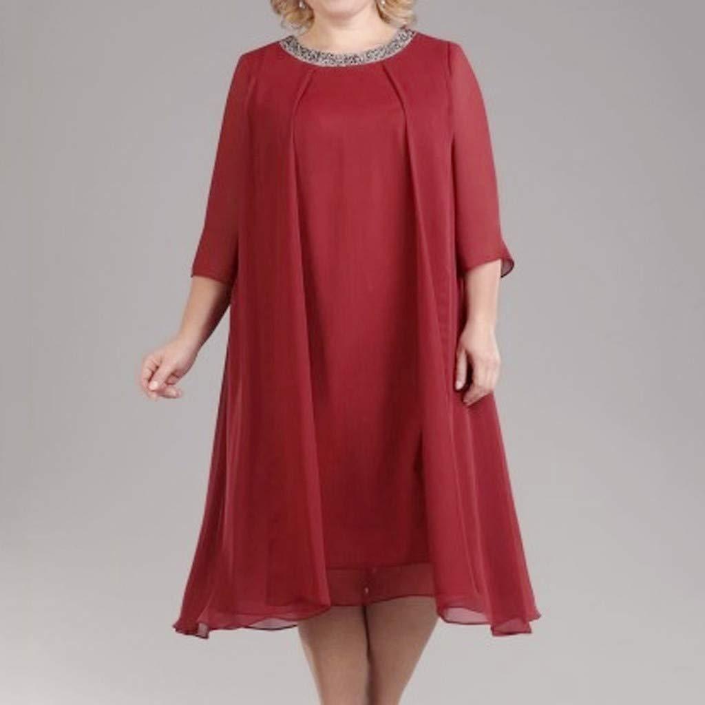 Geilisungren Faldas Corta Mujer Fiesta Elegante Talla Grande Faldas Color s/ólido Minifalda La Gasa Vestido de Camiseta Verano Cuello Redondo Faldas Vestidos Mujer Casual Suelto Manga Corta