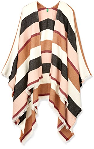 United Colors of Benetton Damen Poncho 6GGBD52J2, Mehrfarbig (Mulitcolor (White, Black, Pink, Brown) 901), One Size