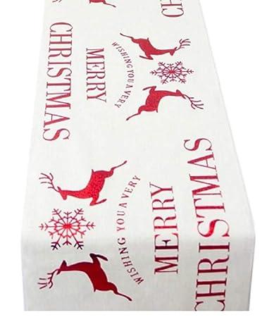 Merry Christmas Vine.Amazon Com Khlshop Classic Christmas Table Runner Reindeer