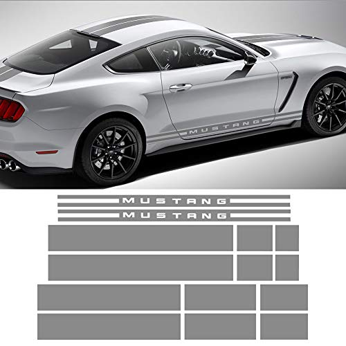 Charminghorse Side Door Rocker Stripes Hood Roof Trunk Front to Back Side Stripe Kit Vinyl Graphic Decal Stripes Sticker for 2015-2017 Ford Mustang ()