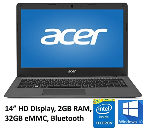 "Acer Aspire One Cloudbook 14"" Laptop PC, Intel Celeron N3050 1.6GHz, 2GB DDR3L Memory, 32GB eMMC, Webcam, HDMI, 802.11ac WIFI, Bluetooth, Windows 10 (Certified Refurbished)"