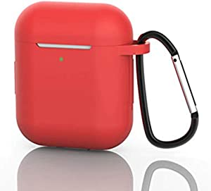 AirPods Case, Silicone Protective Cover Compatible with Apple AirPods 1/2 Shock Resistant AirPods Cover with Carabiner Anti-Lost Strap Anti-Dust Plug Front LED Indicator Visible (Red)