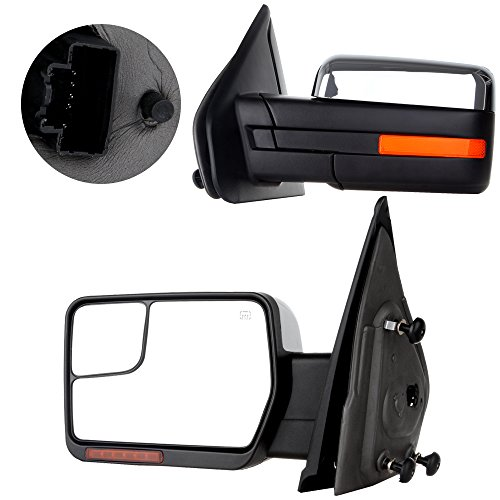 - SCITOO Towing Mirrors 2007-2014 F-150 Blind Spot Mirror Power Heated Chrome Puddle Signal Double Glass (Driver Side Passenger Side)