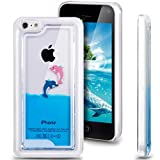 iphone 5c case , liquid case for iphone 5c , Appmax Cool 3D Aquarium Cute Dolphins Flowing Case for Apple iPhone 5C ,5C Phone Case Clear Hard-Blue