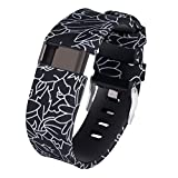 Gealpoor for Fitbit Charge HR Bands Silicone Replacement Adjustable Band Strap for Fitbit Charge HR (Black line, Large)