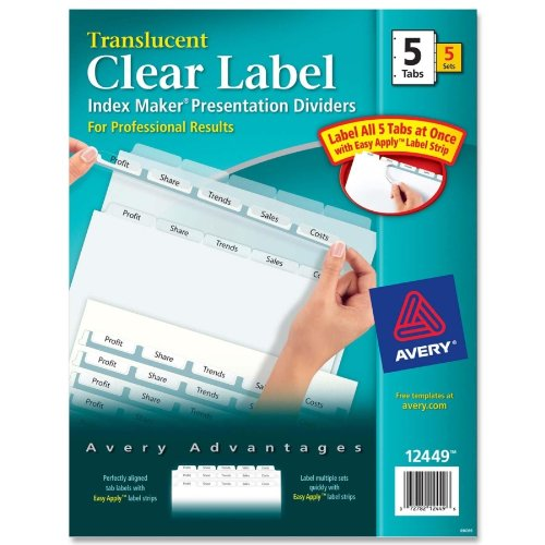 Avery Consumer Products Index Label Dividers, Plastic, 5-Tab, 3Hp Punched, Cl... (Punched Tab 5 3hp Plastic)
