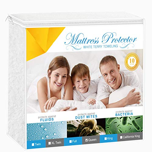 Adoric Full Size Mattress Protector, Premium Waterproof Mattress Cover Cotton Terry Surface-Vinyl Free