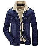 Zicac Men's Fleeced Denim Jacket Winter Fall Warm Cowboy Coat Outerwear Parka (XL, Blue)
