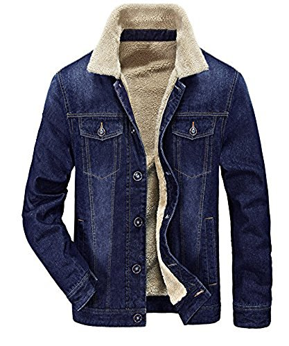 Fleece Winter Parka - Zicac Men's Fleeced Denim Jacket Winter Fall Warm Cowboy Coat Outerwear Parka (L, Blue)