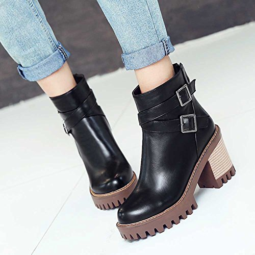 CHFSO Womens Trendy Solid Round Toe Buckle Zipper Chunky High Heel Platform Ankle Boots Black TbQ6T6D