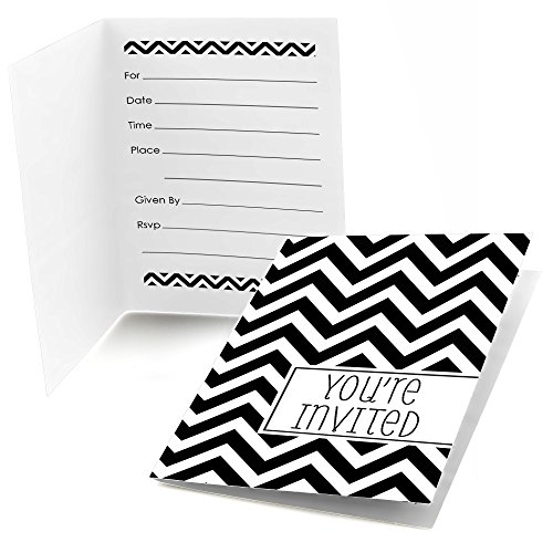 White Party Invitations (Chevron Black and White - Fill-In Baby, Bridal Shower or Birthday Party Invitations (8 count))