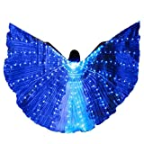Riforla  LED Belly Dance Angel Isis Wings Butterfly Wings with Telescopic Sticks Blue