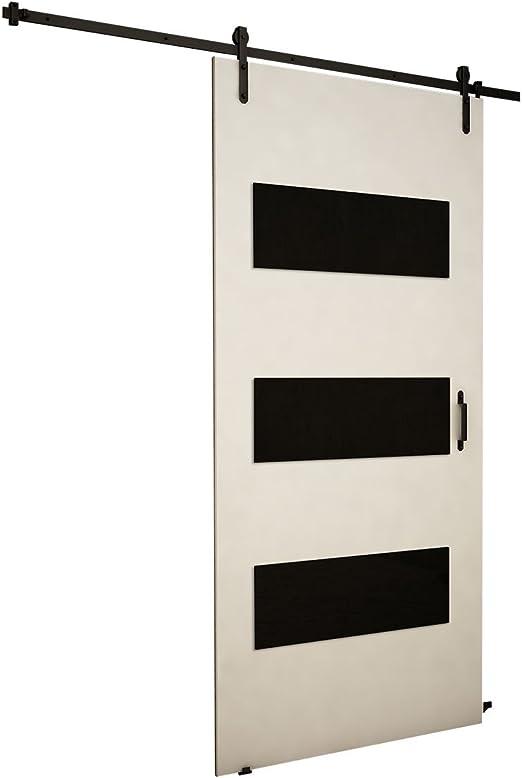 Mirjan24 Puerta Corredera Sistema Antic II, Negro Cristal, Set ...