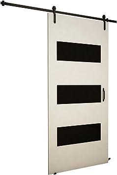 Mirjan24 Puerta Corredera Sistema Antic II, Negro Cristal, Set Completo para Puertas correderas con guía de Suelo Distancia Guía divisores Puertas Interiores: Amazon.es: Juguetes y juegos