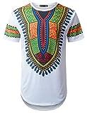 URBANTOPS Mens Hipster Hip Hop African Dashiki Longline T-Shirt White, L