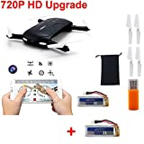 JJRC H37 Elfie (+Extra Battery) *Upgraded Camera: 720P* Wifi FPV Pocket Foldable Drone with Altitude Hold G-Sensor Smartphone Control Android iOS RC Quadcopter (Black)