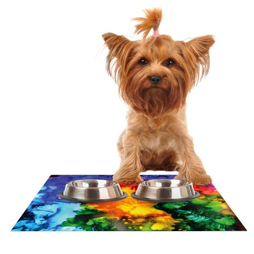 Kess InHouse Claire Day Karma  Rainbow Paint Feeding Mat for Pet Bowl, 18 by 13