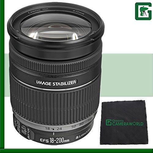 Canon EF-S 18-200mm f/3.5-5.6 IS Standard Zoom Lens for Canon DSLR Cameras T3 T3i T5i T5 60D 5D 7D 70D 6D Green's Camera Package 2 (Renewed)