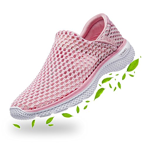 CAMEL CROWN Womens Mesh Sneakers Ultra Lightweight Slip-on Casual Shoes(Pink,US 8) (Camel Golf Shoe)