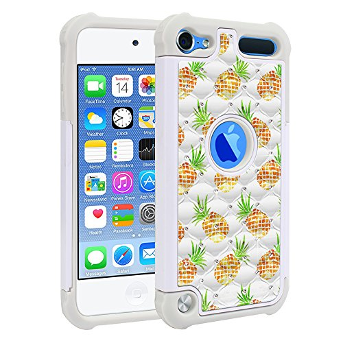 Apple iPod Touch 5 (5th Generation) iPod Touch 6 (6th) Case, Fincibo (TM) Dual Layer Shock Proof Hybrid Hard Protector Cover Anti-Drop Silicone Star Studded Rhinestone Bling, Golden Pineapples