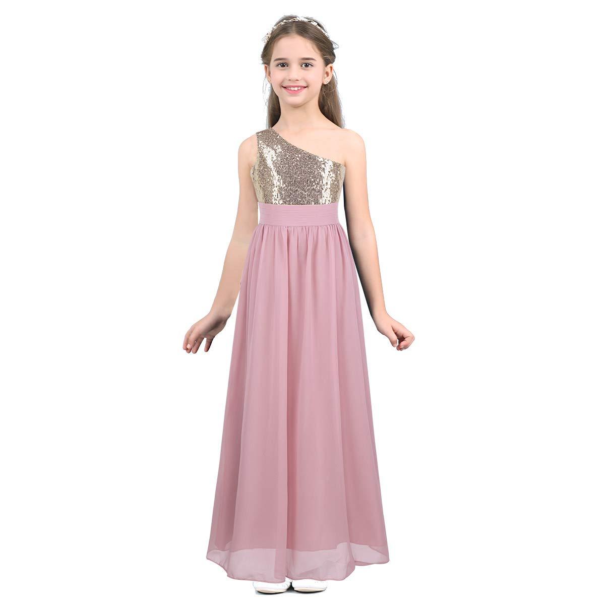 Freebily Vestido Lentejuelas para Ni/ñas Flores Vestido Largo Un Hombro para Boda Fiesta Ceremonia Concurso Actividad Dama de Honor 6-14 A/ños