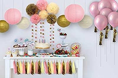 32 Pcs, 5 Variety Pink, Gold Ivory Decoration Kit. Tissue Paper Pom Poms, Tassels, Polka Dot Garland, Paper Lantern and Balloons, Party Supplies for Birthday, Baby or Bridal Shower, and Mother's Day