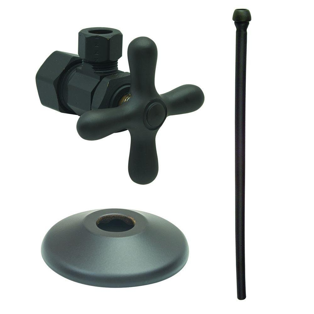 BrassCraft XCR1920AX BZ Faucet Kit: 1/2'' Nom Comp x 3/8'' O.D Comp Multi-Turn Angle Valve with 20'' Riser, Flange in Oil Rubbed Bronze by BrassCraft