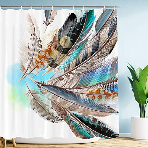 (VIMMUCIR [Advanced Printing Quality] Colorful Feather Shower Curtain, 3D Retro Style Print with Vaned Types Flight Feathers Element, Teal Brown Fabric Bathroom Decor Set with Hooks, 60