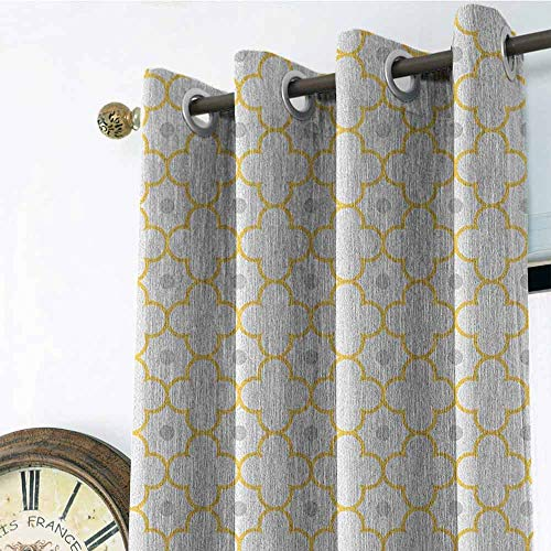 - Quatrefoil Kitchen Gromets Curtain and Valances Set Shading Heat Insulation, Moroccan Style Lattice Pattern Dots in Daisy Diamond Petals Four Leaf Clover Design Darkening Curtains, Brown White, W96