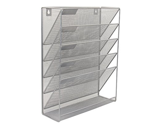 Superbpag Hanging File Organizer, 6 Tier Wall Mount Document Letter Tray Organizer, Silver
