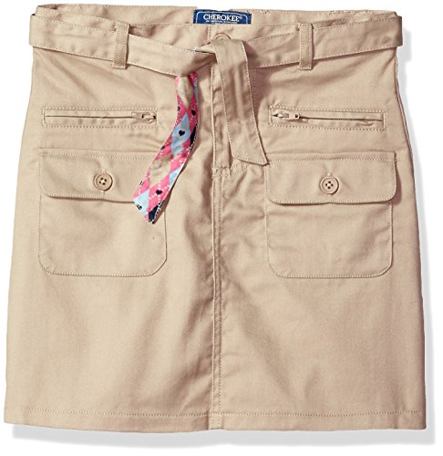 - CHEROKEE Little Girls' Uniform Skirt with Hidden Short, Khaki Belt Pockets, 5