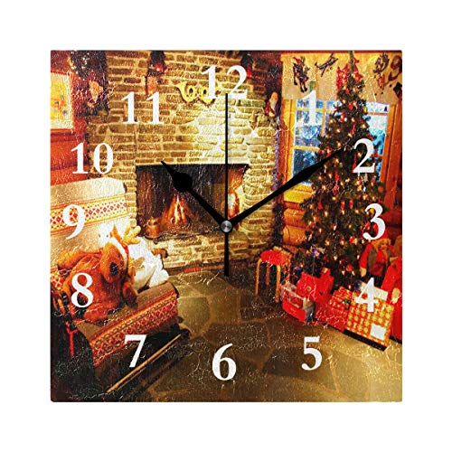 FunnyCustom Square Wall Clock Christmas Picture 7.8 Inch Creative Decorative for Living ()