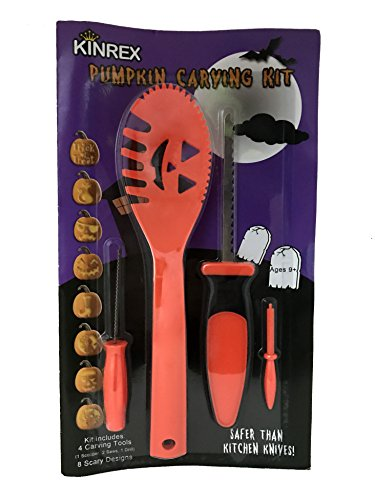 KINREX Halloween Pumpkin Carving Tools - Includes 4 Carving Tools - 8 Halloween Stencils - Great Pumpkin Carving Kit