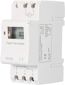 THC Nuevo temporizador programable Interruptor de tiempo Relé digital LCD DIN 30A RAIL AC-DC 12/24/110 / 220V(220V): Amazon.es: Bricolaje y herramientas