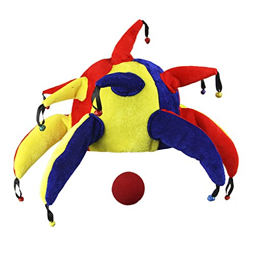 Funny Multicolor Halloween Jeste Halloween Jester Clown Costume Joker Hat with Bell for Festival Party Gift (Jack In The Box Costume Head)