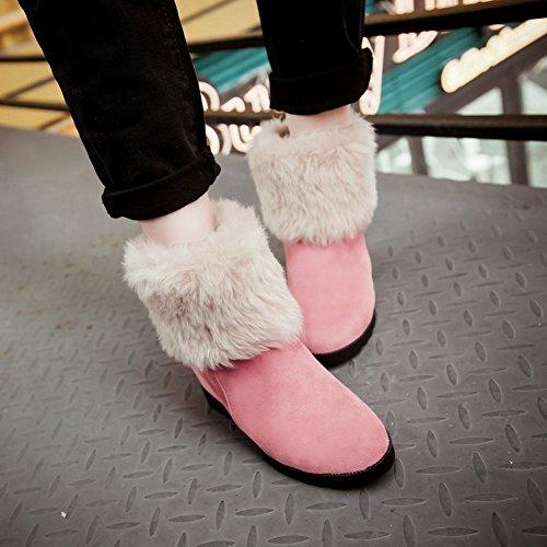 Carolbar Womens Bows Faux Fur Lolita Dolce Eleganza Carino Moda Zeppa Abito Stivali Da Neve Rosa