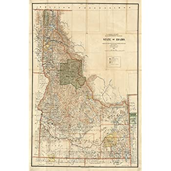 Amazon.com: Map Poster - Map Of State Of Idaho. - 24\