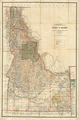 Map Poster - Map of State of Idaho. - 24
