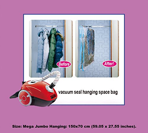 Storage Army [Pack of 5 Mega Jumbo Hanging] Storage Bags Sealed Compressed Garment Vacuum Bag Save Long Coats | Dress Space Home Organizer Travel Storage Saver protects from Water, Odor, (Jumbo Hanging)
