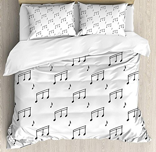 CHASOEA Music Comforter Set,Musical Notes Theme Melody Sonata Singing Song Clef Tunes Pattern Bedding Duvet Cover Sets Boys Girls Bedroom,Zipper Closure,4 Piece,Charcoal Grey Queen ()