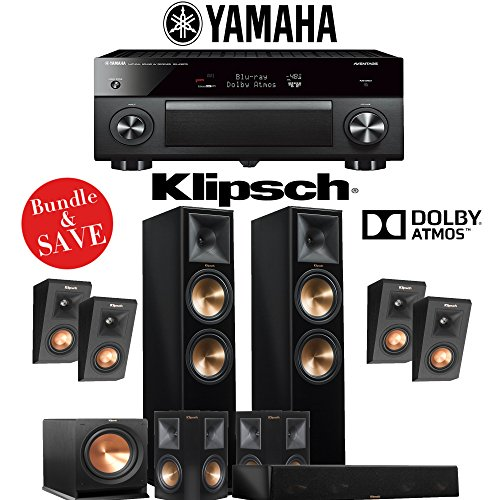 Klipsch RP-280F 5.1.4-Ch Reference Premiere Dolby Atmos Home Theater System (Piano Black) with Yamaha AVENTAGE RX-A3070BL 11.2-Channel Network A/V Receiver