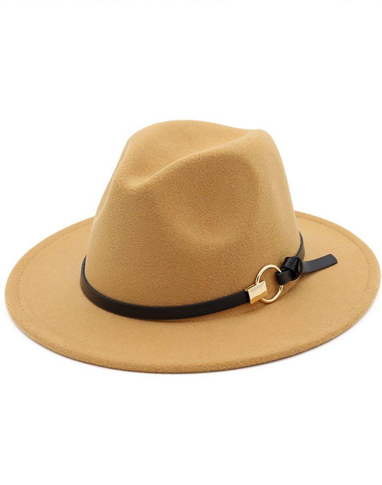 Hestenve Women Wide Brim Vintage Jazz Hat Fedora with Belt,Camel,One Size