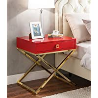 Iconic Home Bogart Stylish Accent Furnishing Modern Lacquer-Finish x-Metal Leg Side Table, 24'X20'X25' Luscious Red
