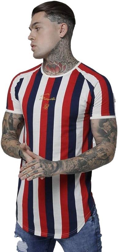 Sik Silk Camiseta Raglán de Rayas Rotativas Rojo y Marino/Blanco: Amazon.es: Ropa y accesorios