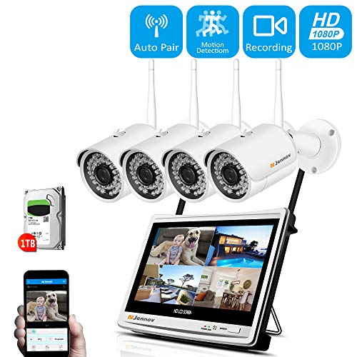 Lcd Color 4 Channel Dvr - 【Newest Strong WiFi Version】 Jennov Security Camera System Outdoor Wireless 4 Channel HD 1080P 12 Inch Monitor WiFi Home IP Video Surveillance Night Vision NVR Kit with Pre-Installed 1TB Hard Drive