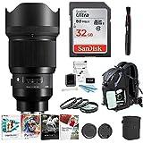 Focus Sigma 85mm f/1.4 DG HSM Art Lens for SONY E Mount Cameras (321965) W/32GB SD Card Advanced Travel Kit