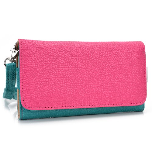 Smartphone Wallet Cover Case fits Alcatel One Touch Fire E Aqua Forest Green Hot Pink with Hand Strap + ND Velcro Cable Tie