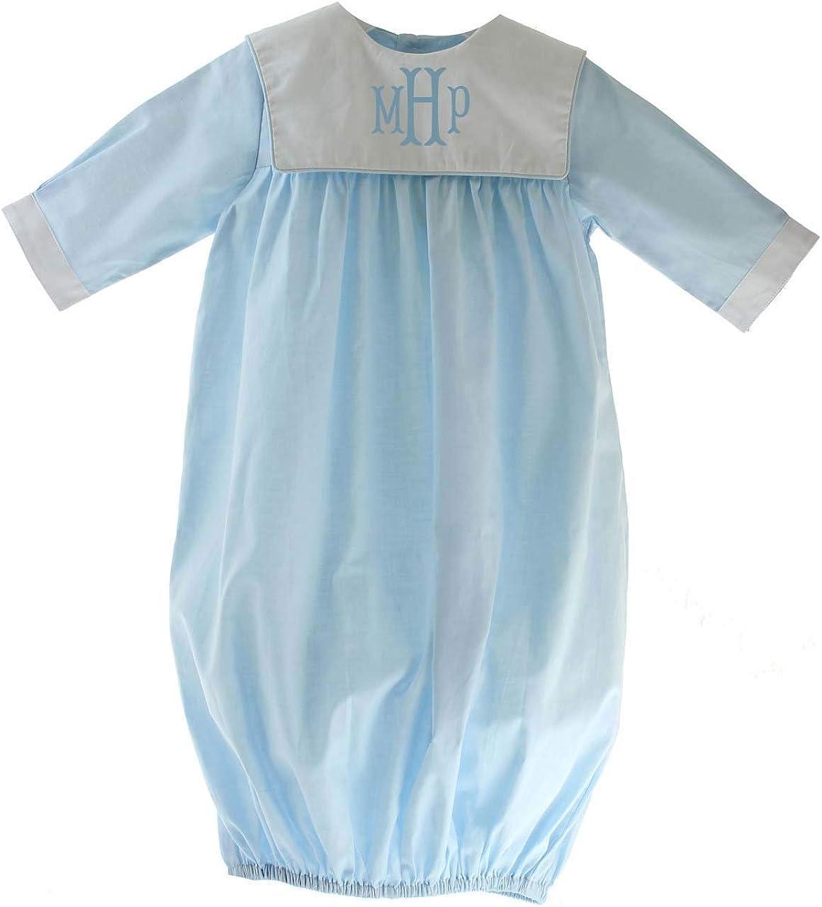 LOVE ME Infant Boys Blue Layette Gown Monogram Collar