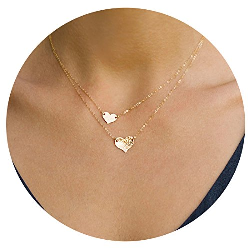 Necklace Gold 14k Mens (Mevecco Women layered Heart Necklace Pendant Delicate Handmade 14k Gold plated Dainty Gold Choker Layering Long Necklace for Women NCK-2 Heart)