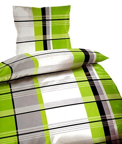 4 tlg Bettwäsche 135 x 200 cm grau grün Microfaser 2 Garnituren